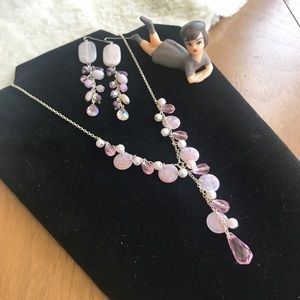Jewelry - 💎 Lot Lavender Earrings Pastel Pink Necklace